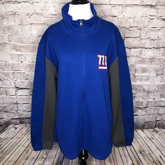 Fan Apparel & Souvenirs Sports Mem, Cards & Fan Shop New York Giants NFL Men's Gray/Blue G-III Large Full Zip Hooded Puffer Jacket